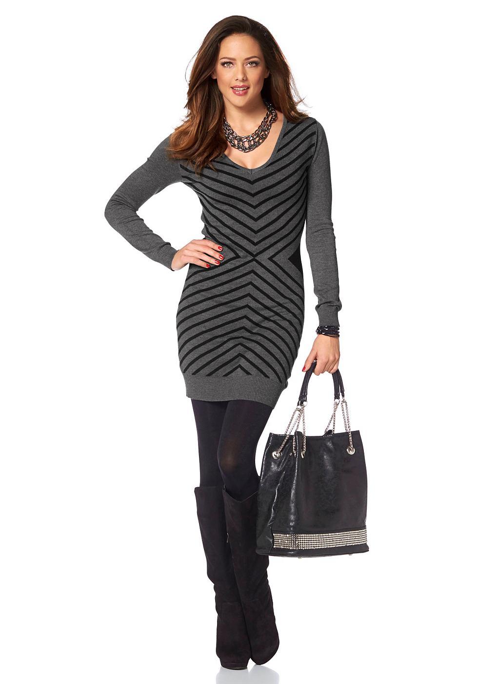 Melrose Tricot-jurk met groot zigzagmotief grijs