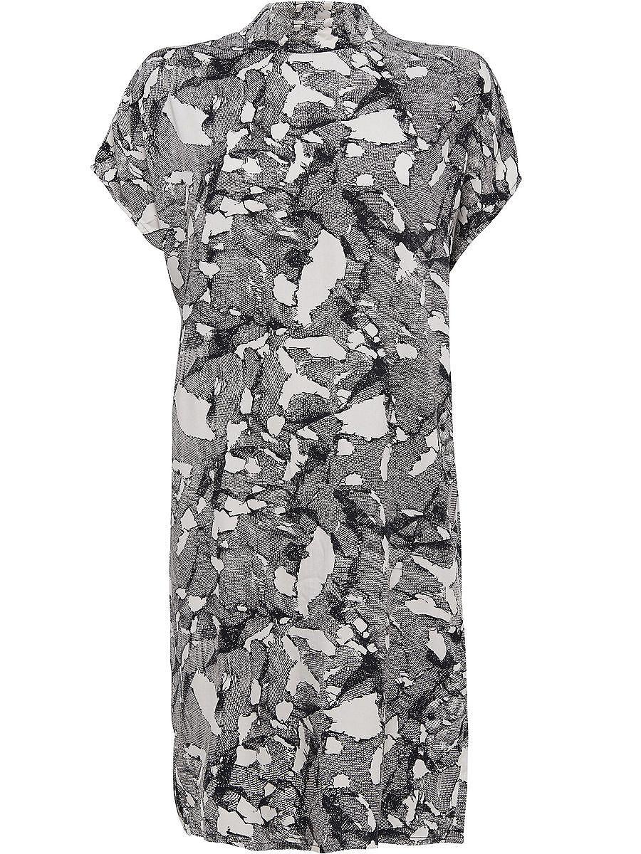 ONLY Ruimvallend high-neck jurk met korte mouwen zwart