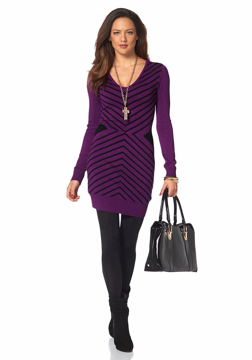 Melrose Tricot-jurk met groot zigzagmotief paars