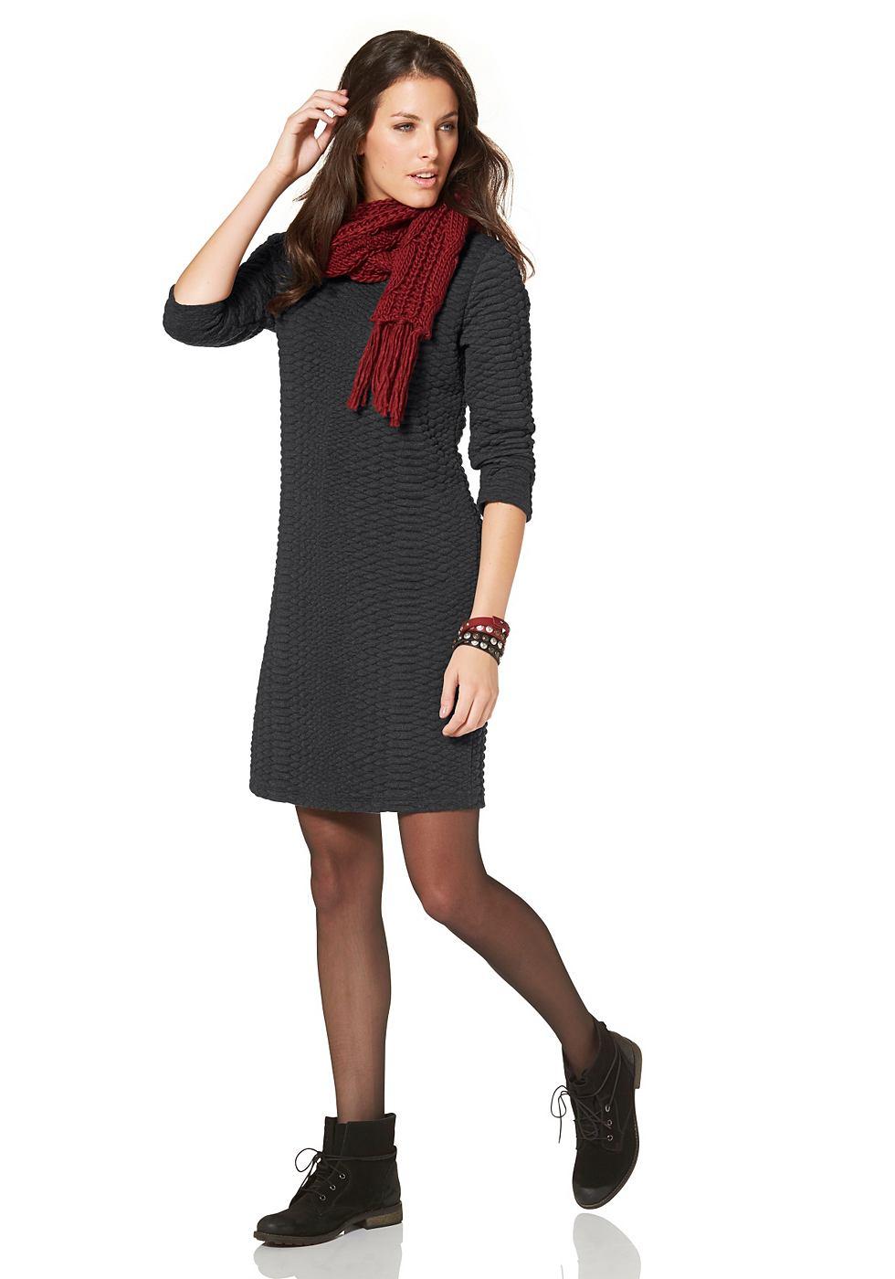 Aniston Sweat-jurk met driekwartmouwen grijs