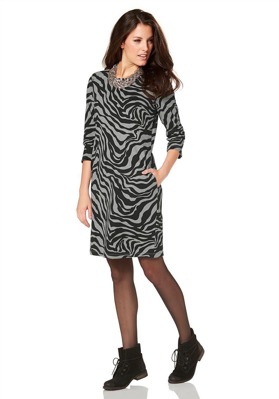 Aniston Sweat-jurk met print en stretch zwart