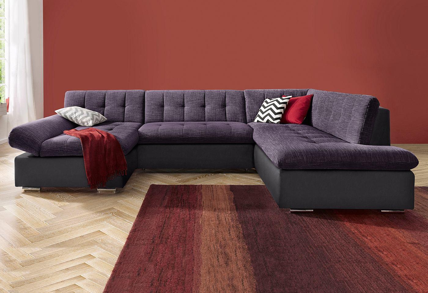 Microgaren primabelle structuurstof bank zithoek 2 zits en 3 zits banken online bestellen - Lounge grijs en paars ...