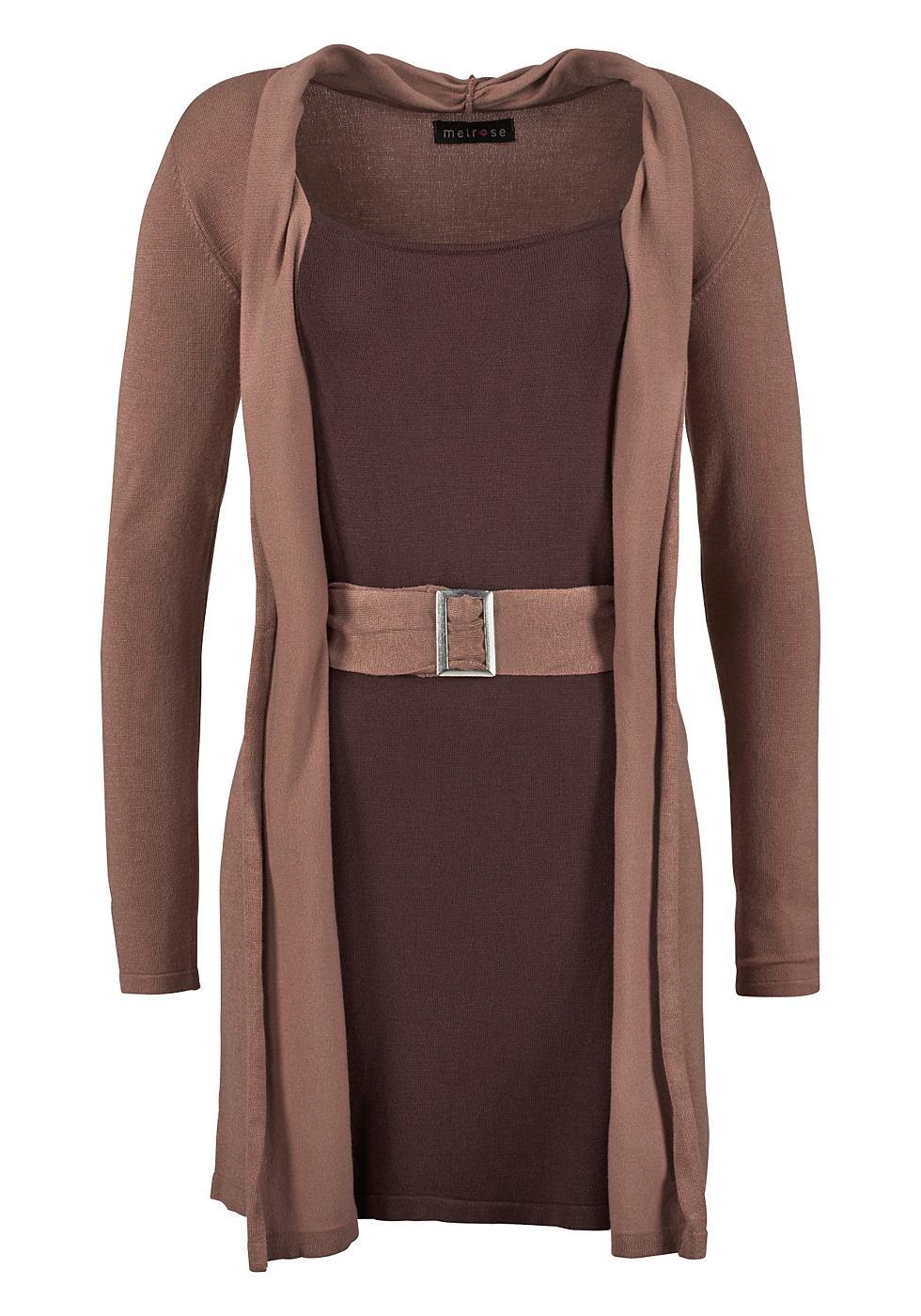 Melrose Tricot-jurk in 2-in-1-look bruin
