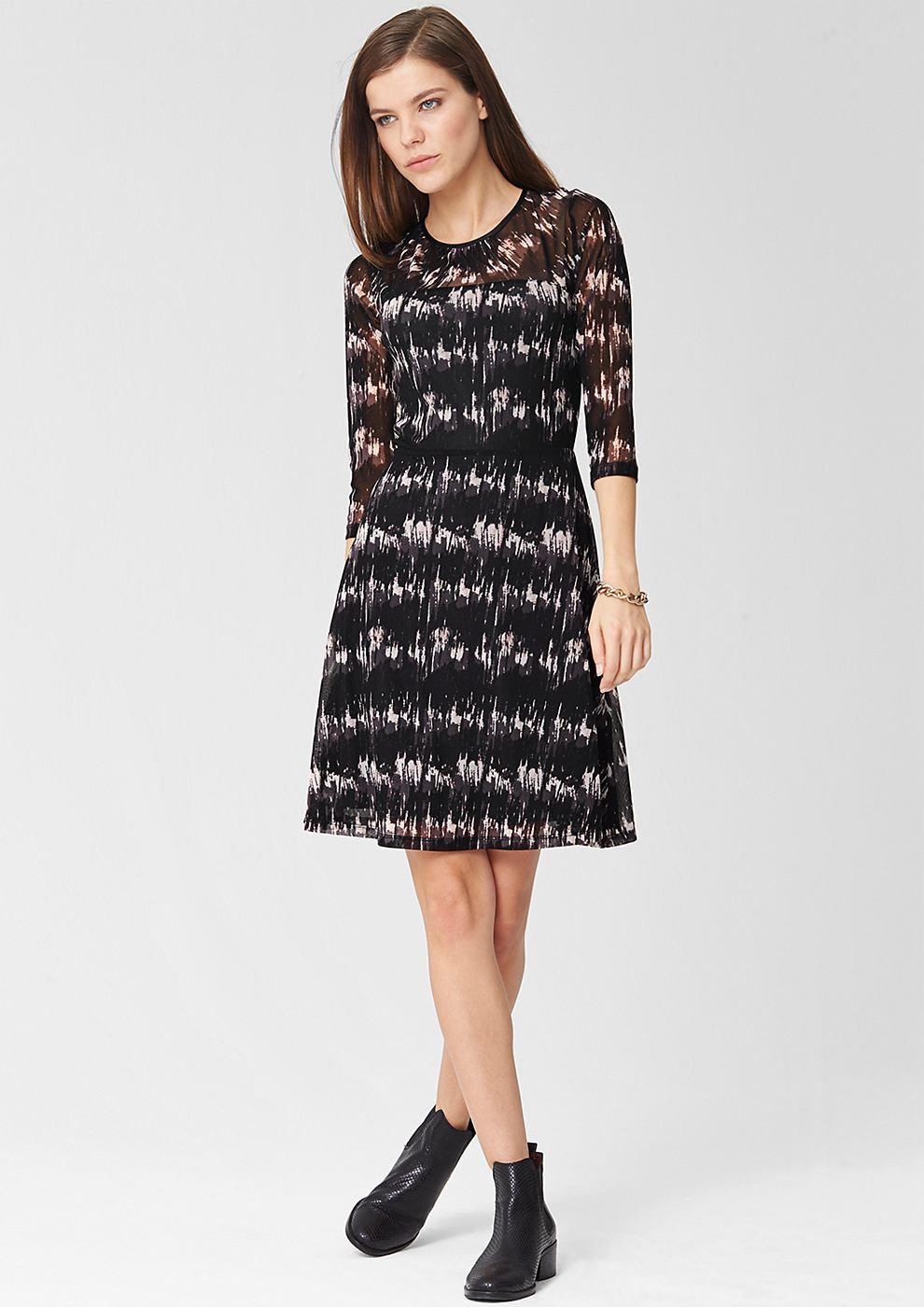s.Oliver Premium Mesh jurk met motief zwart
