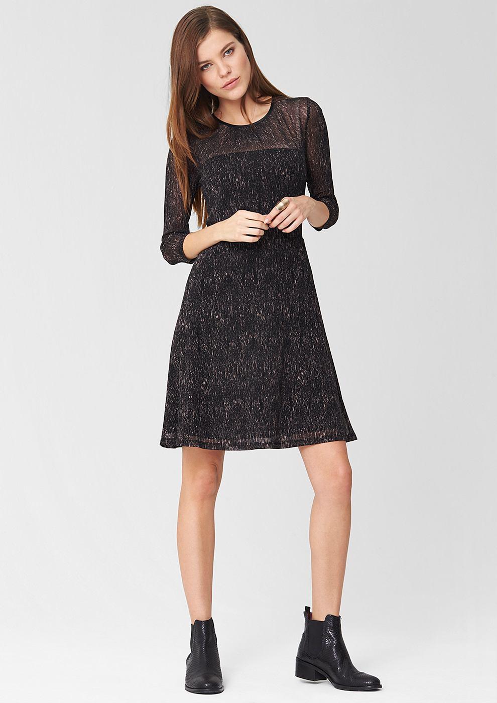 NU 15% KORTING: s.Oliver Premium Mesh jurk met motief zwart