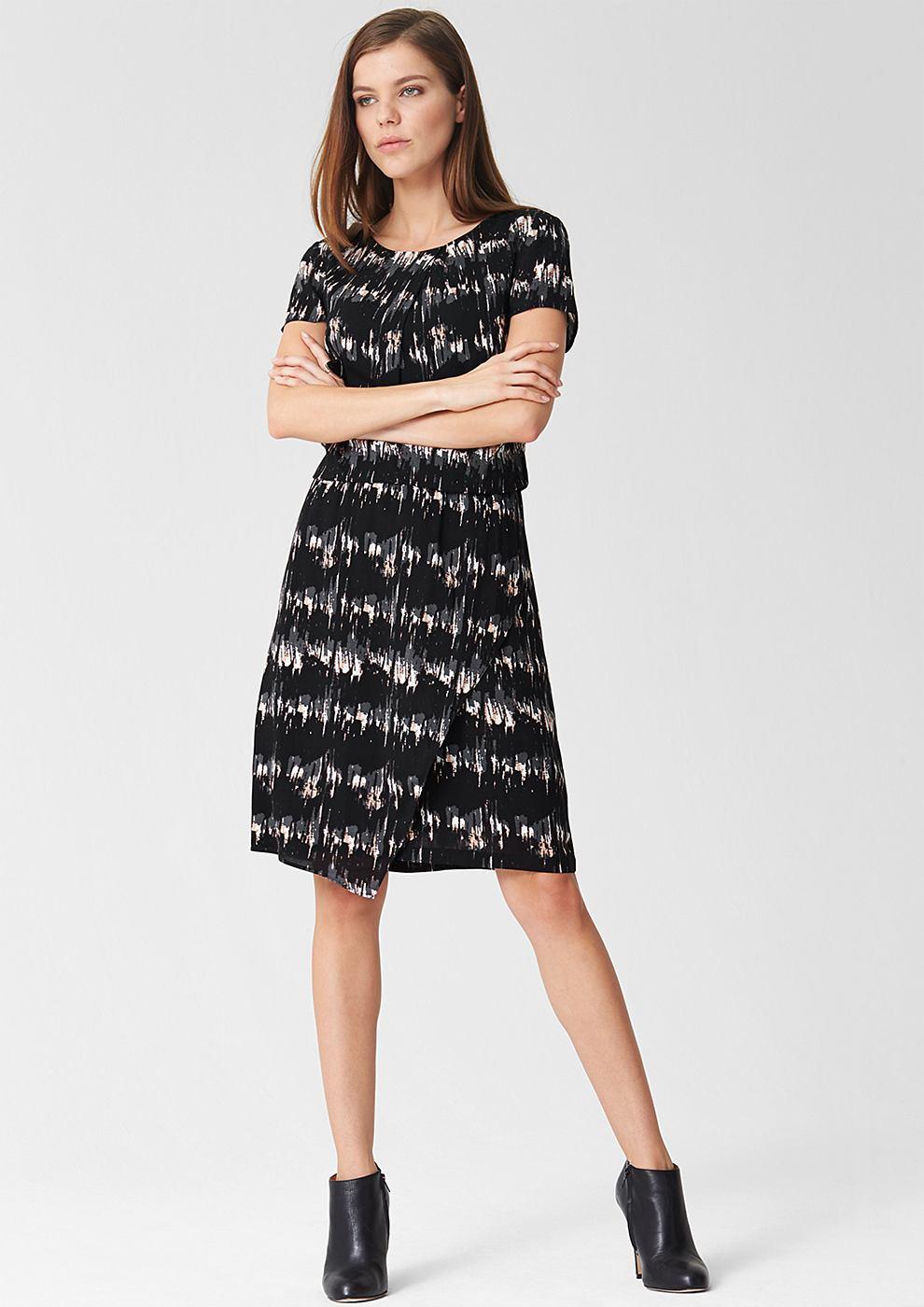 s.Oliver Premium Viscose jurk met motief zwart