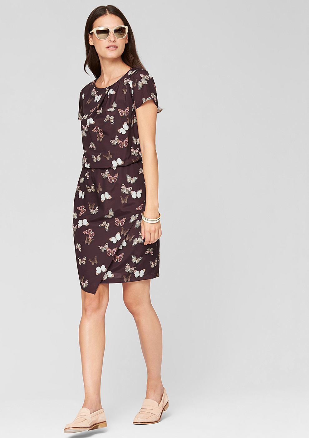 s.Oliver Premium Mesh jurk met een motief rood
