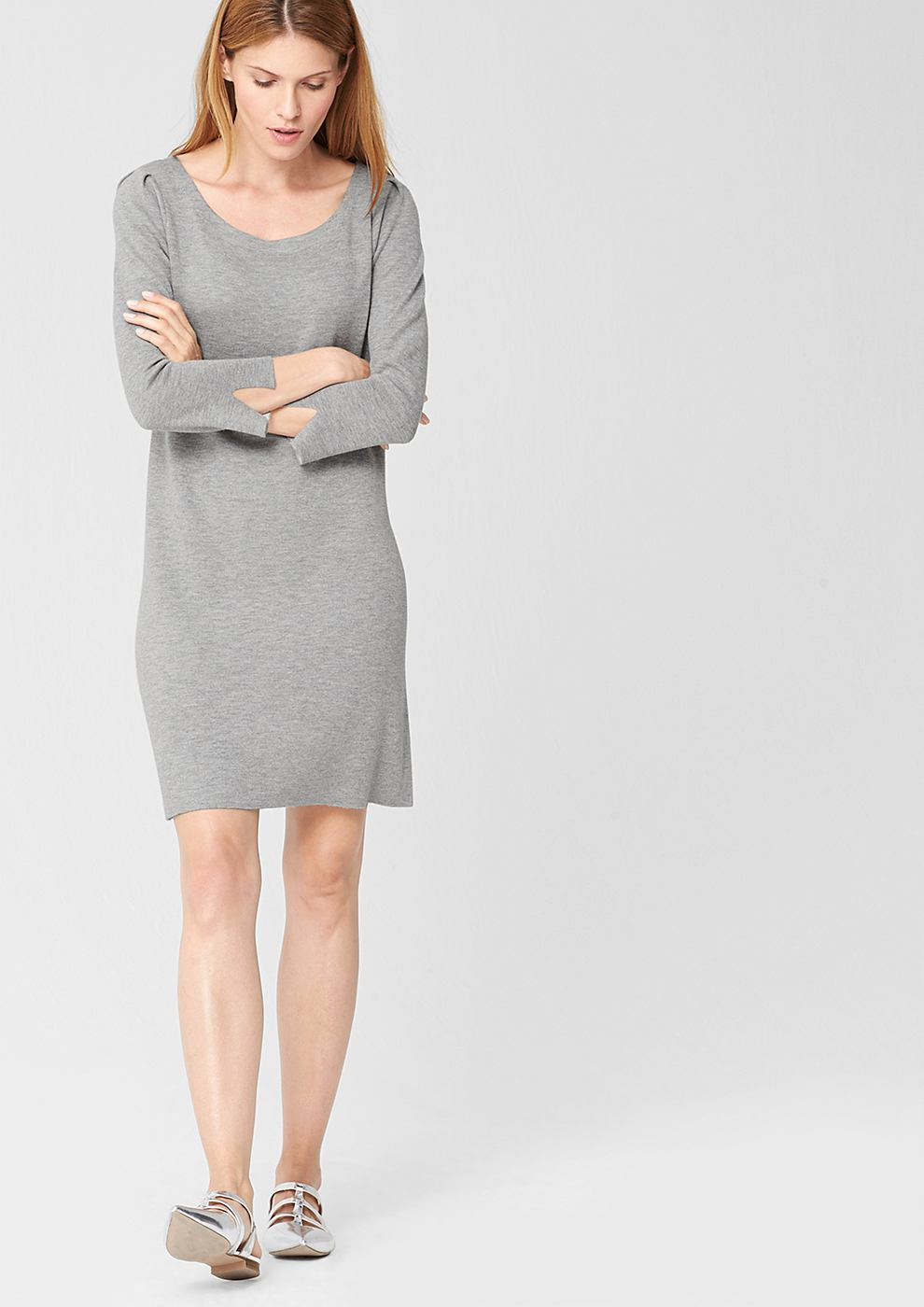 s.Oliver Premium Zachte fijngebreide jurk grijs