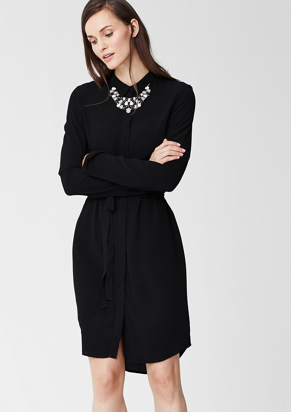 s.Oliver Premium Shirt dress zwart