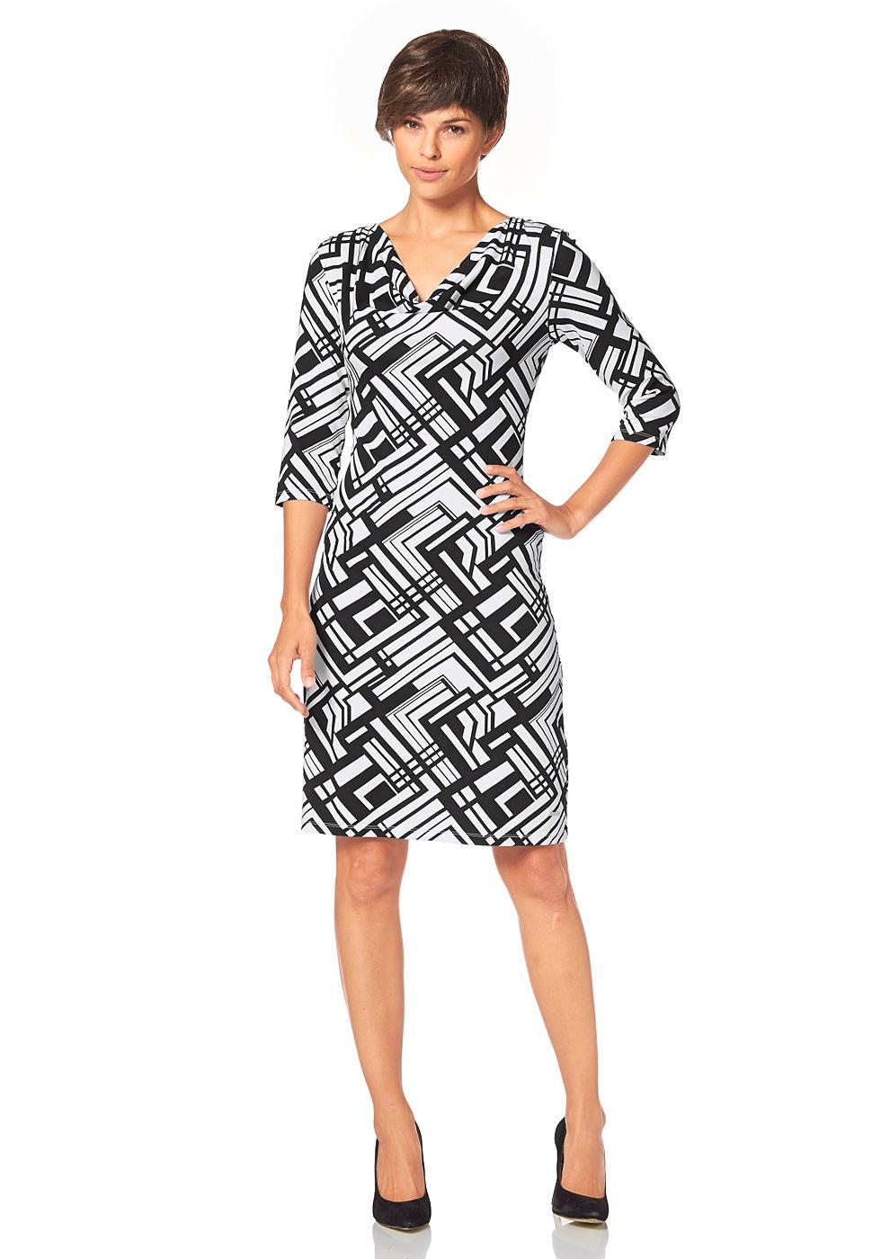 Bruno Banani jersey-jurk met allover-print zwart