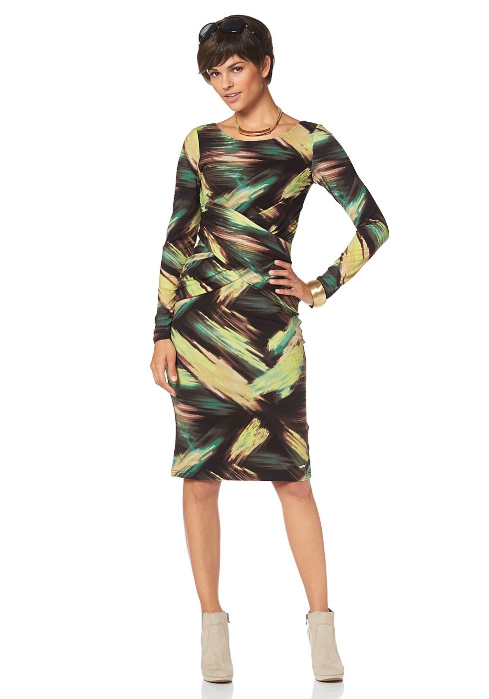 Bruno Banani jersey-jurk met allover-print multicolor