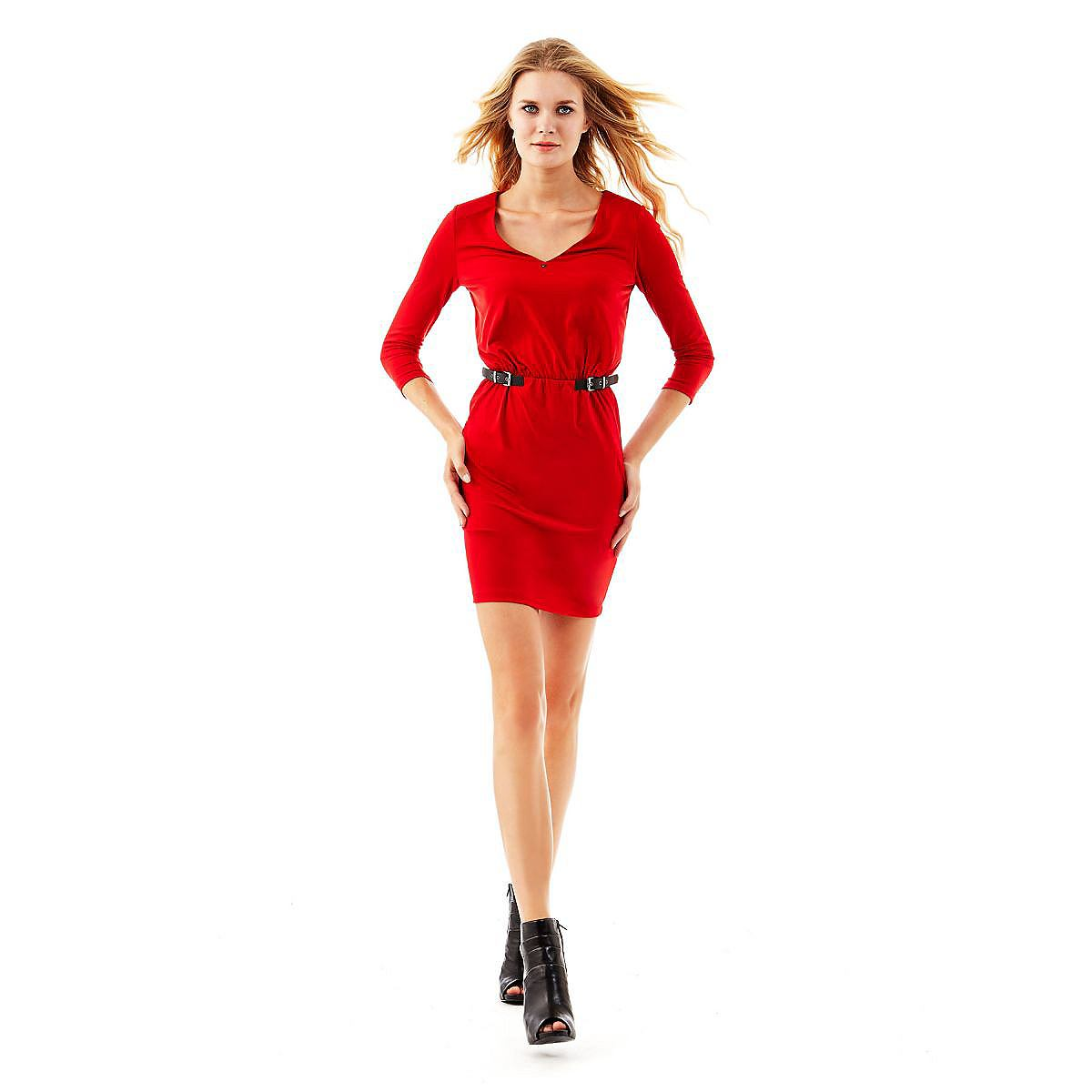 Guess jurk Stretch long sleeves rood