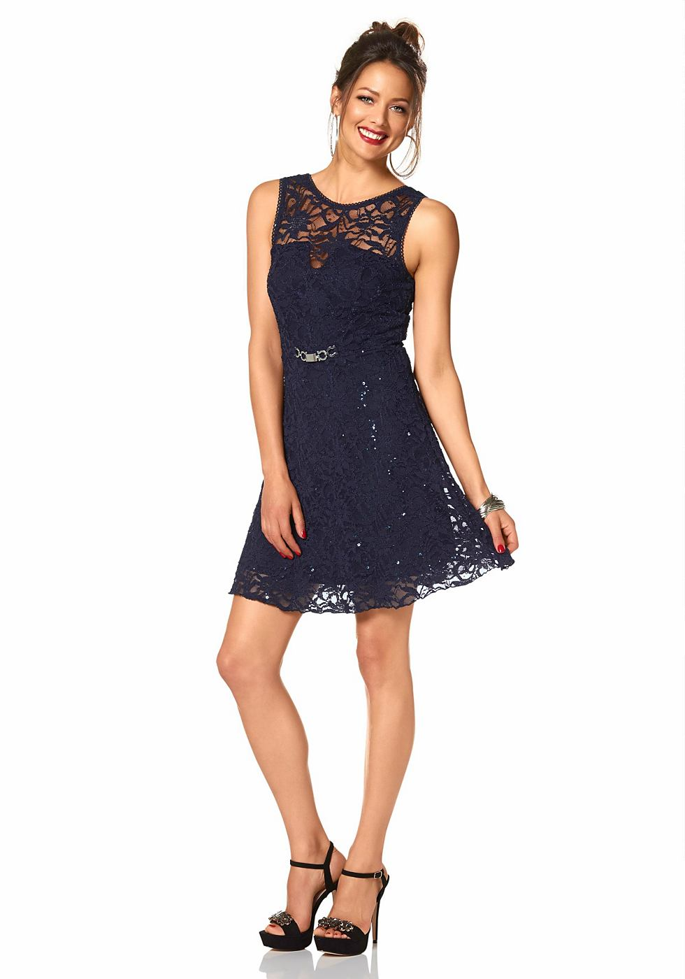 Melrose kanten jurk blauw
