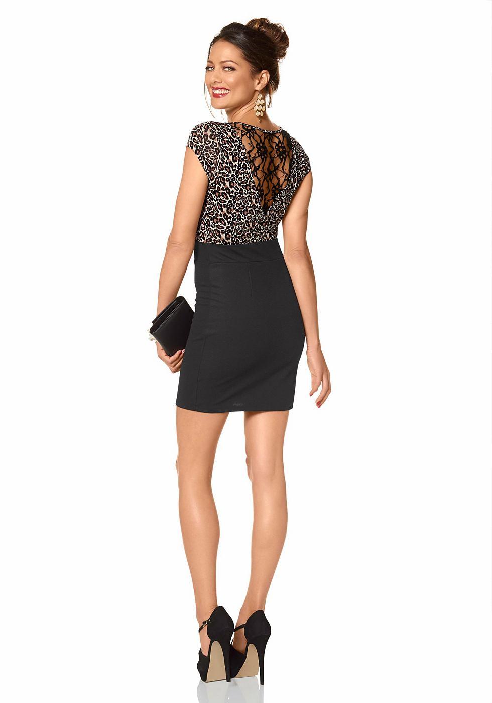 Melrose jersey-jurk met luipaardprint zwart