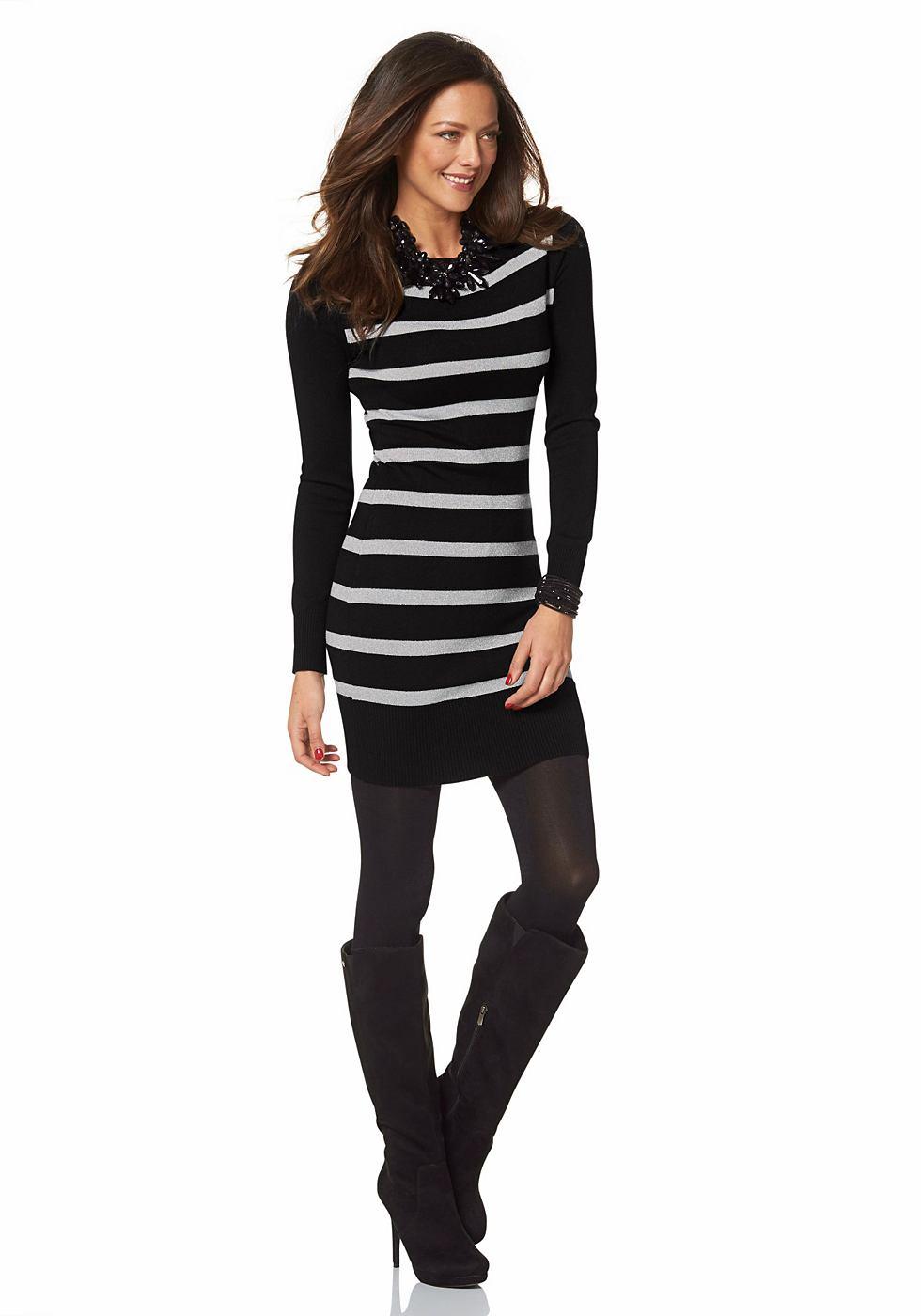 Melrose Tricot-jurk met boothals zwart