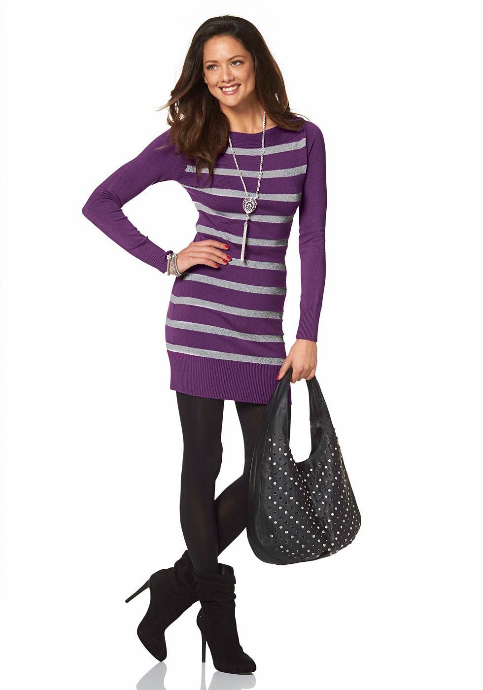 Melrose Tricot-jurk met boothals paars