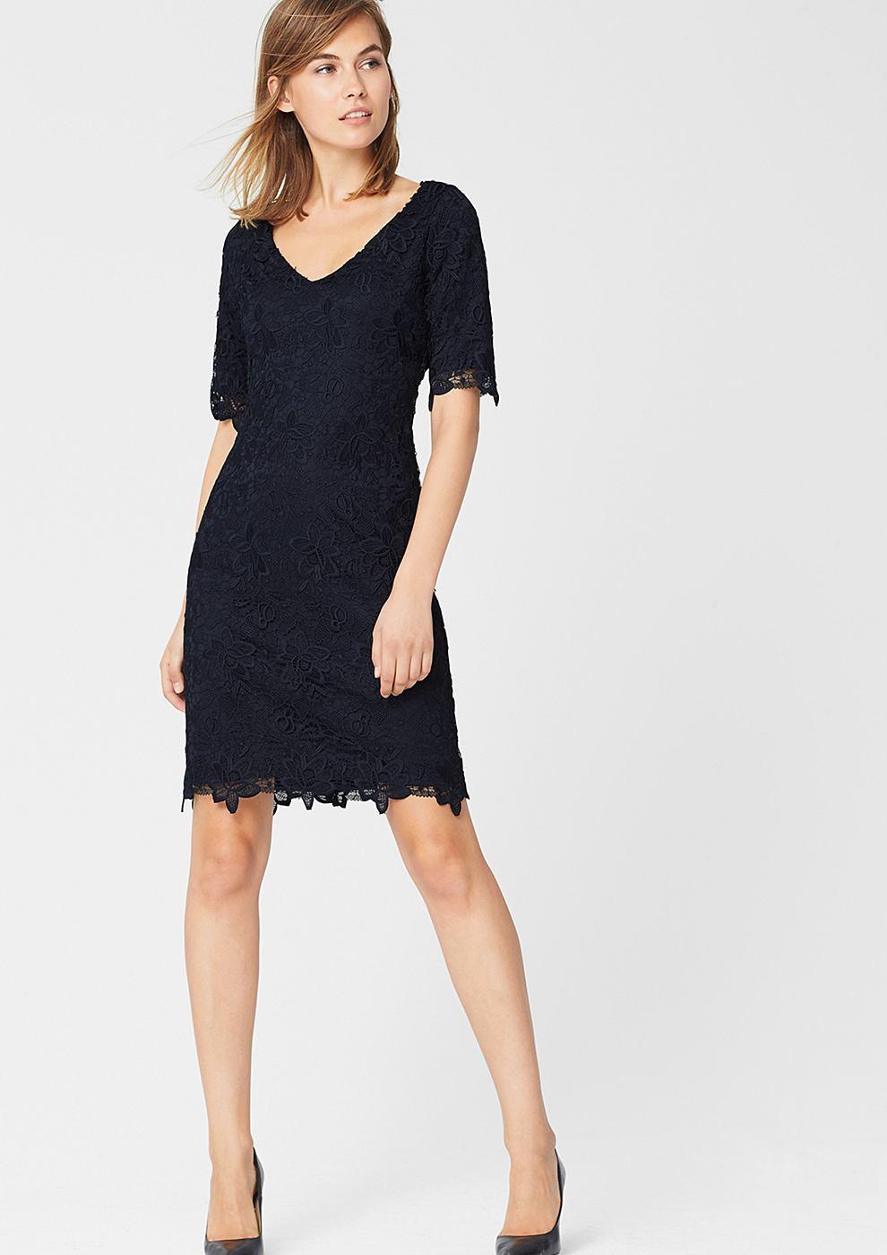 s.Oliver Premium kanten jurk met wijde hals blauw