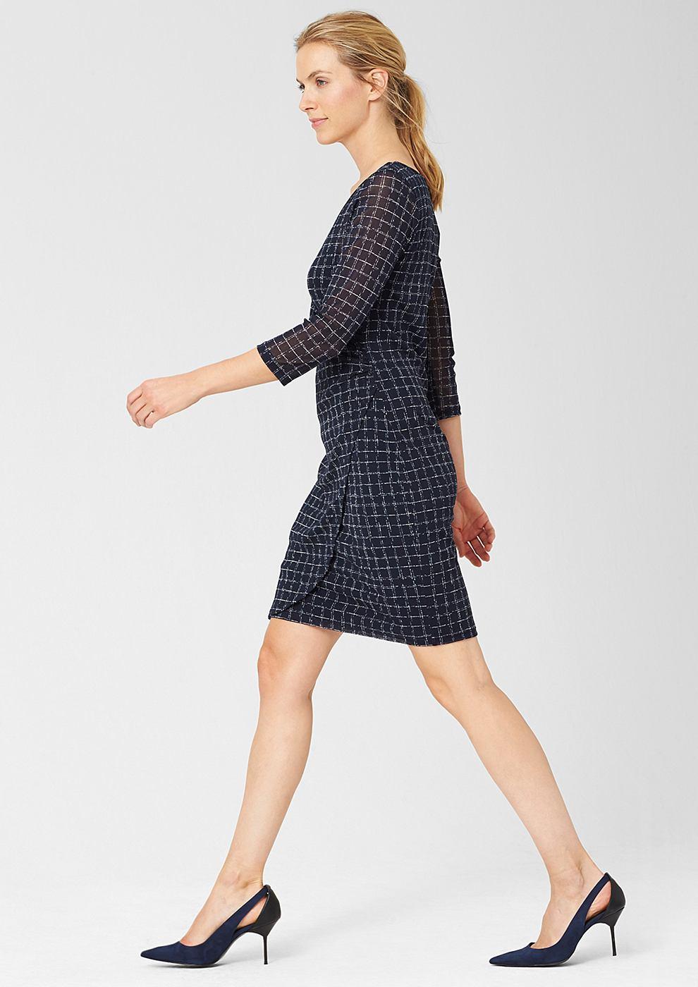 s.Oliver Premium Mesh jurk met een wikkellook blauw