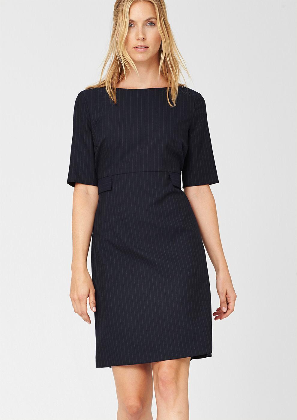 s.Oliver Premium jurk met krijtstrepen blauw