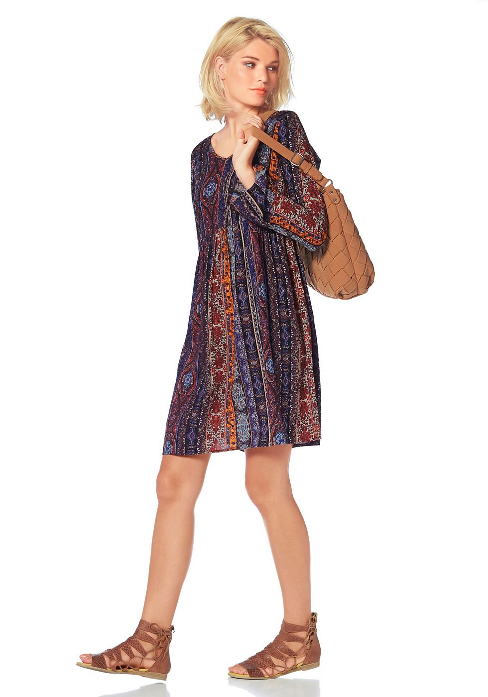 Laura Scott Gedessineerde jurk met V-hals multicolor