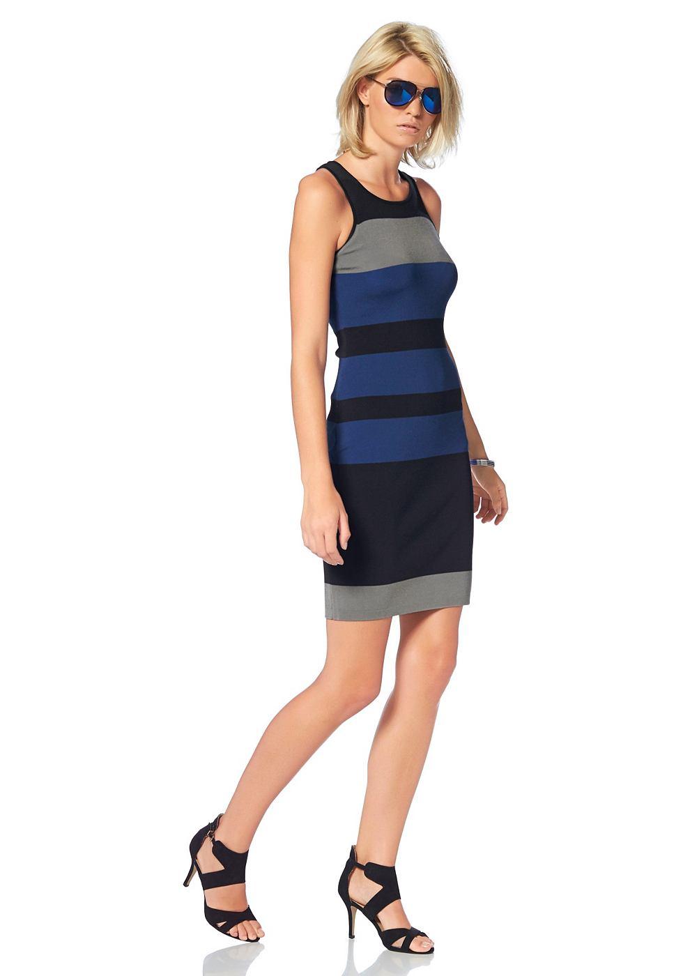 Laura Scott Tricot-jurk met ronde hals blauw