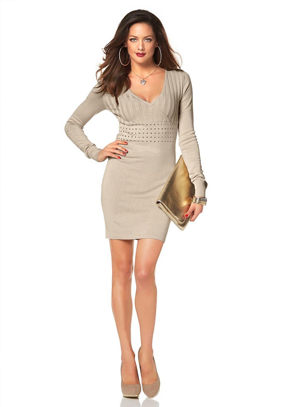 Melrose Tricot-jurk met V-hals in wikkel-look beige