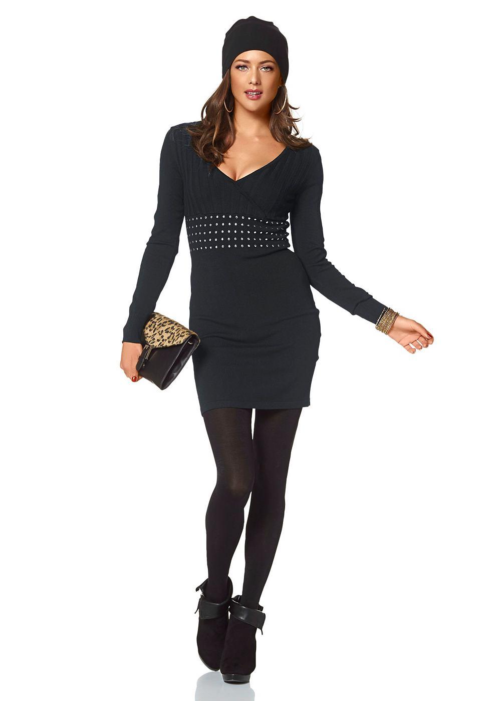 Melrose Tricot-jurk met V-hals in wikkel-look zwart