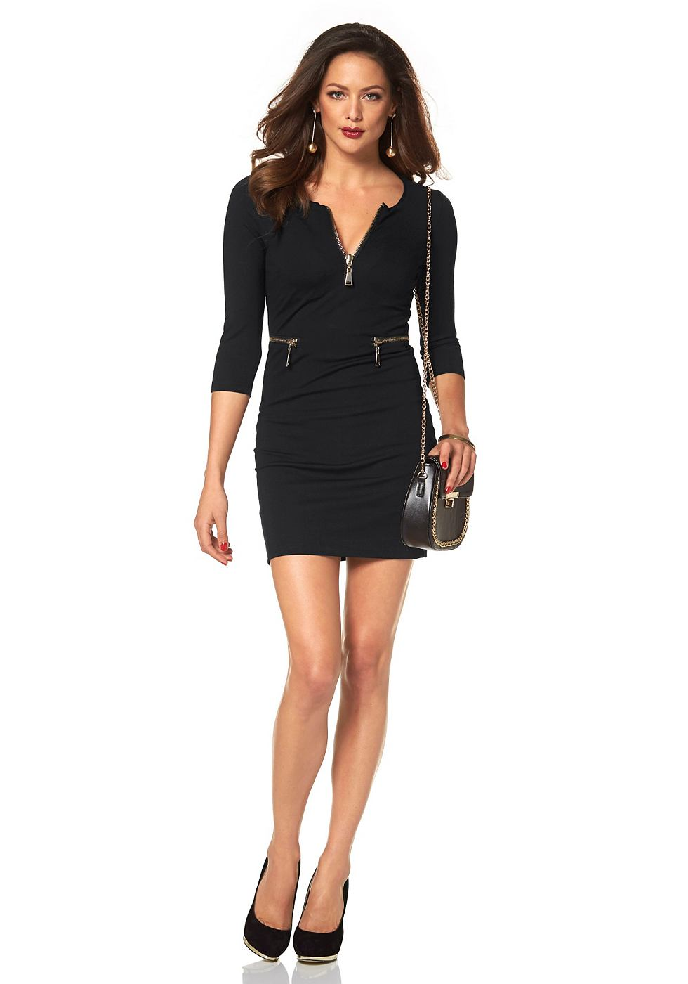 Melrose jersey-jurk met ritsdetails zwart