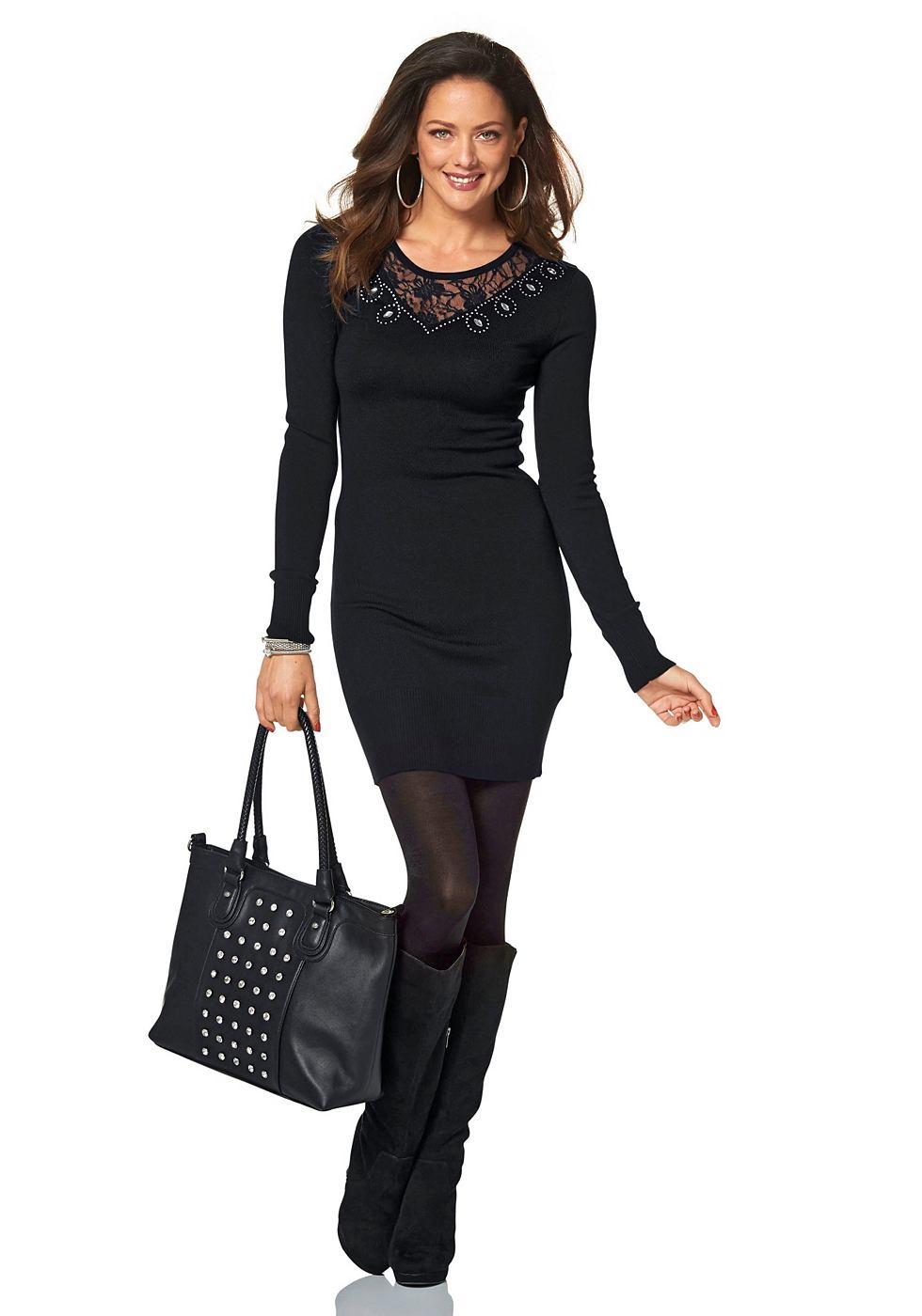 Melrose Tricot-jurk met kanten inzet zwart