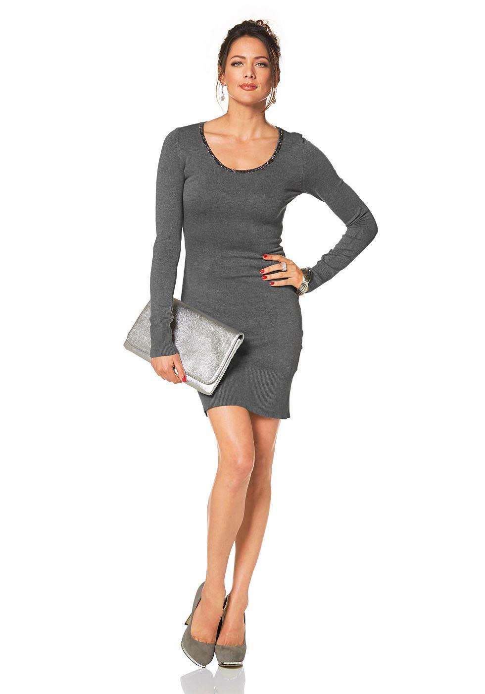 Melrose Tricot-jurk met kanten inzet grijs