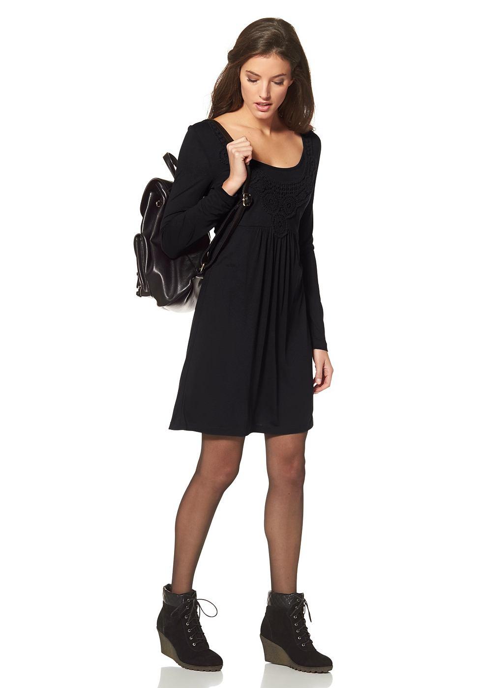 Aniston jersey-jurk met borduursel bij de hals zwart