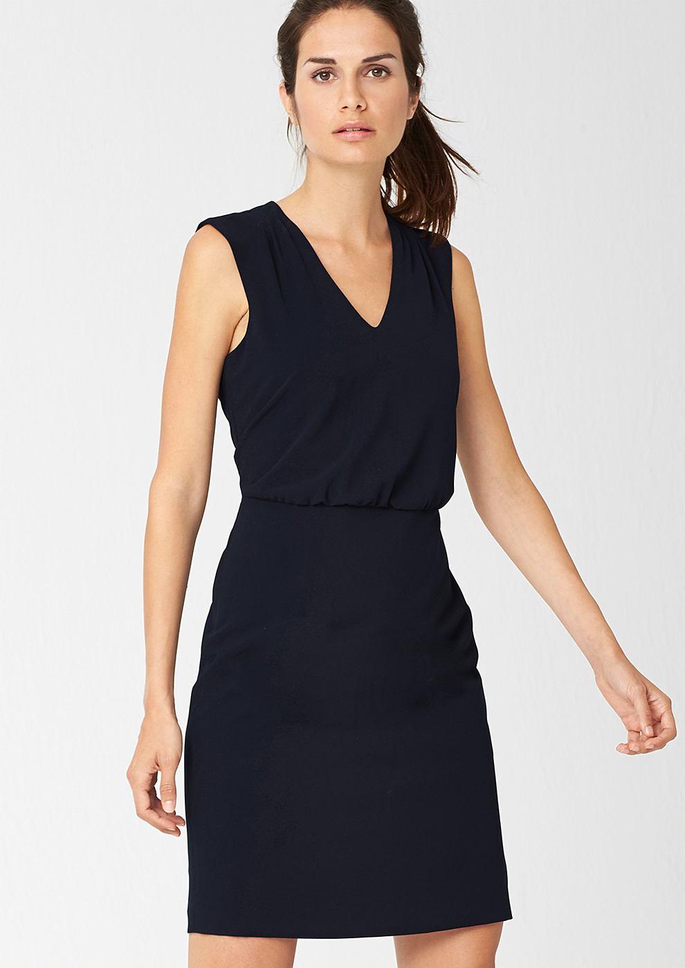 s.Oliver Premium Accentuerende crepe jurk blauw