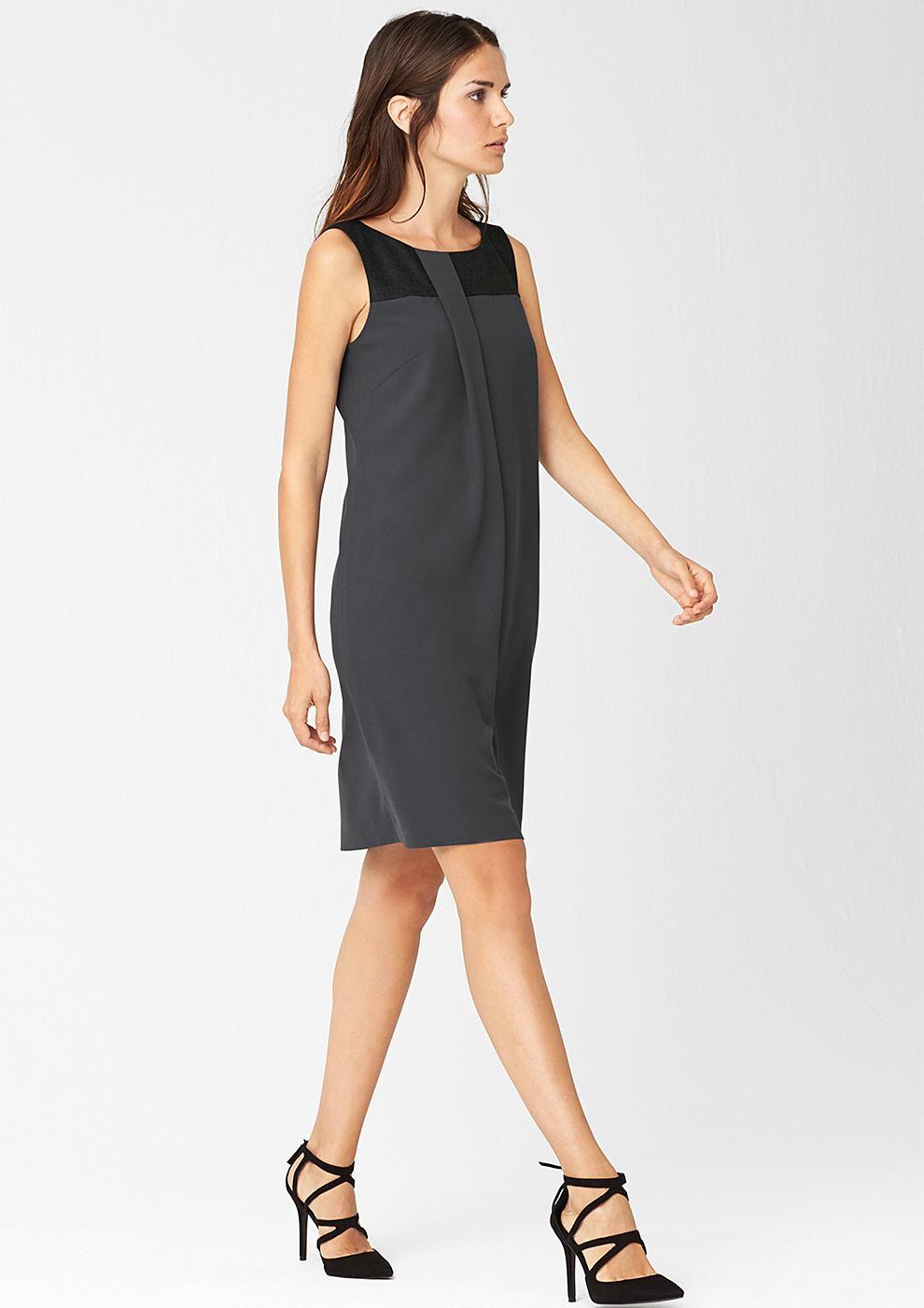 s.Oliver Premium Elegante jurk in een materialenmix zwart