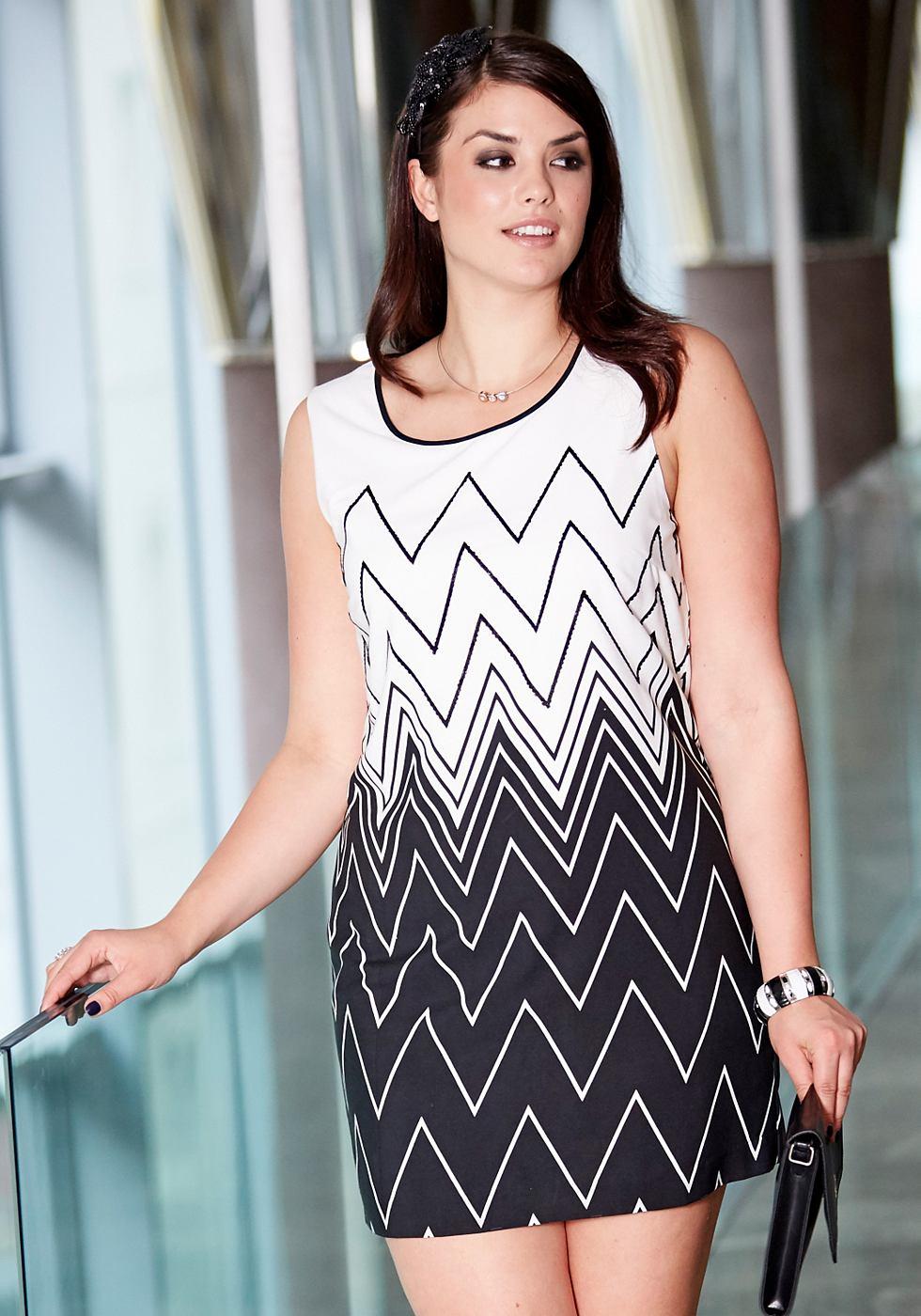 Sheego Style jurk met pailletten zwart