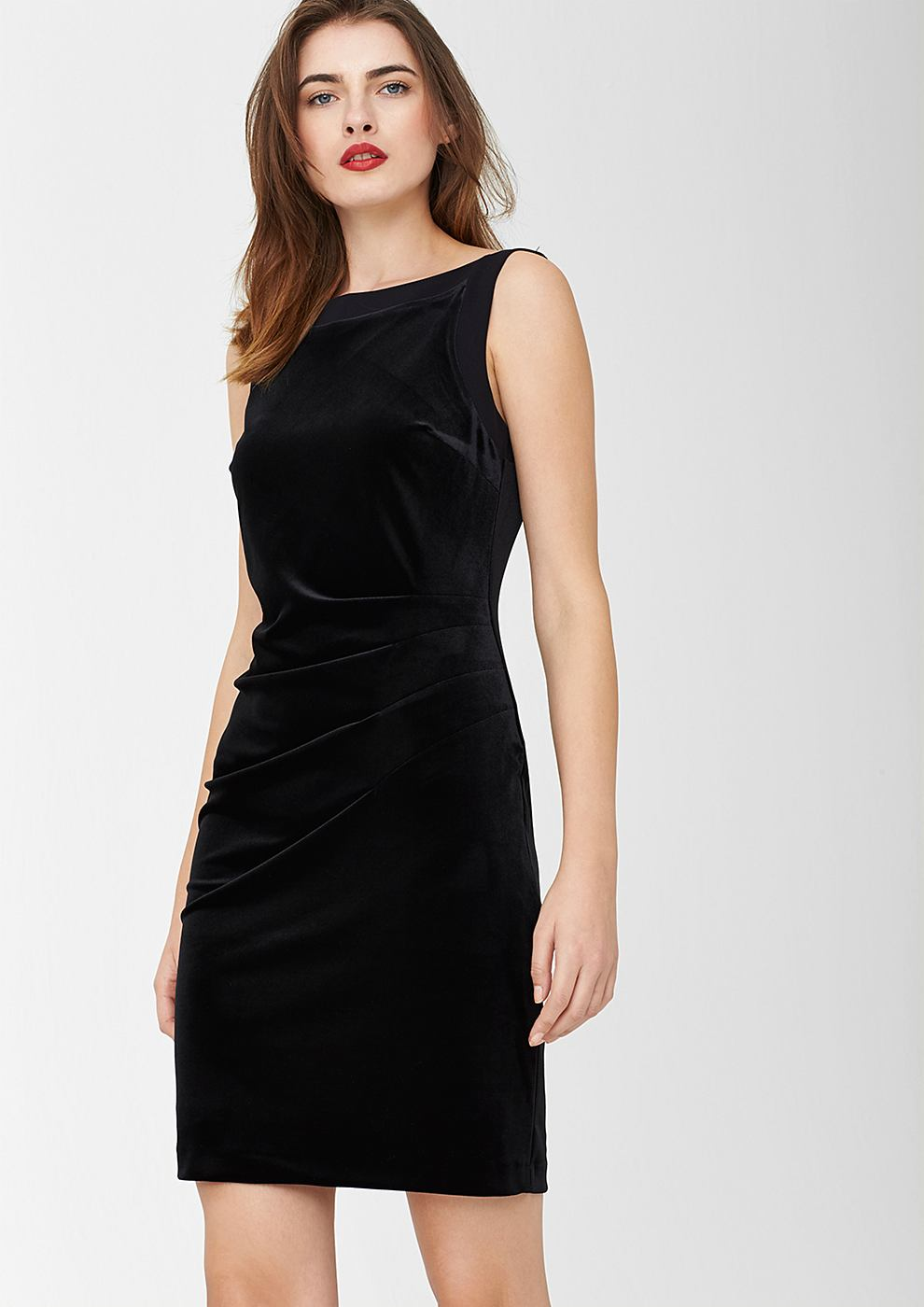 s.Oliver Premium Mouwloze fluwelen jurk zwart