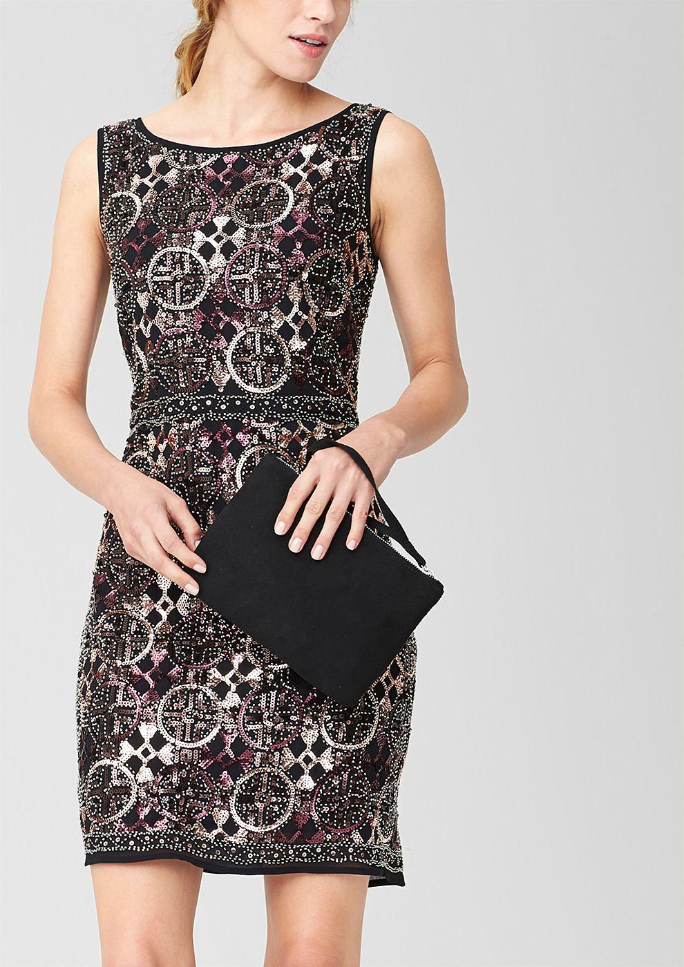 s.Oliver Premium jurk met een paillettenmotief zwart