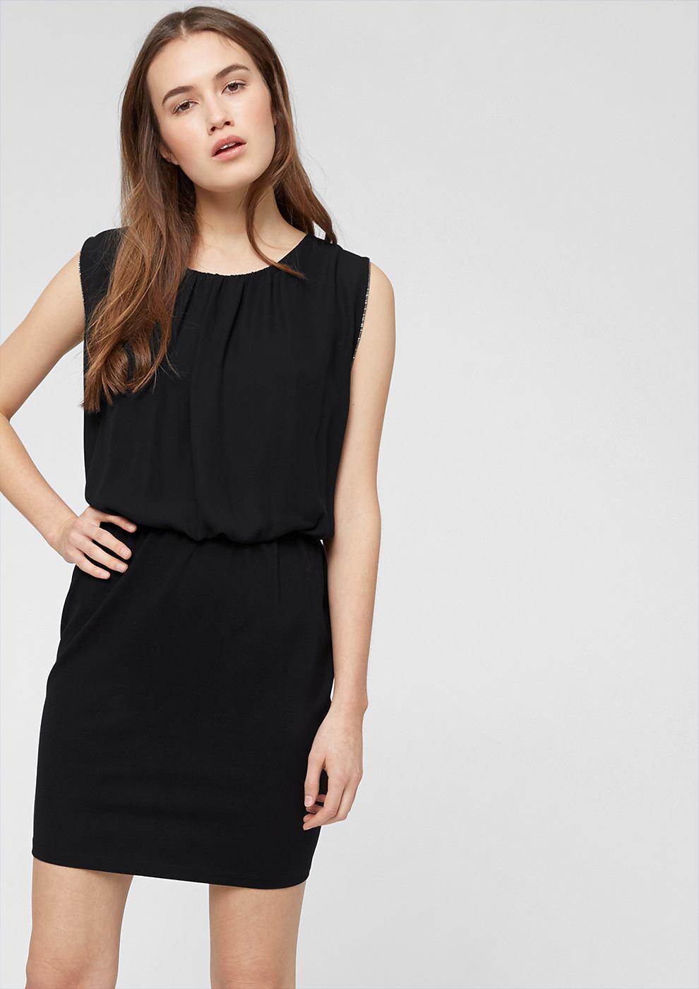 s.Oliver Dubbellaagse jurk met kettingdetails zwart