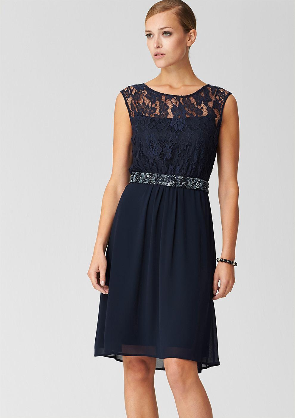 s.Oliver Premium chiffon jurk blauw