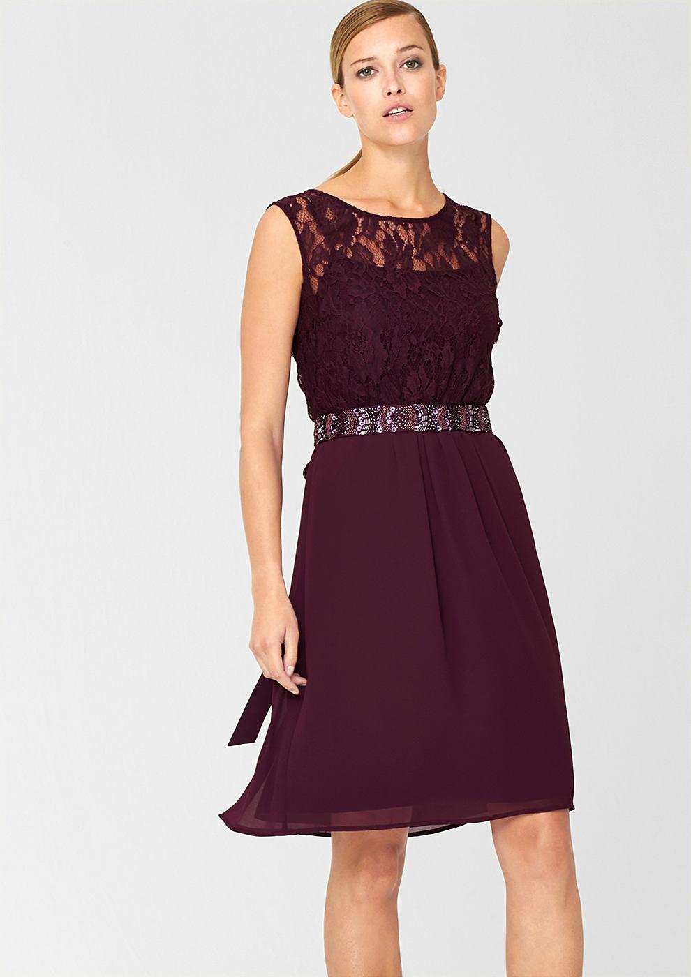 s.Oliver Premium chiffon jurk rood