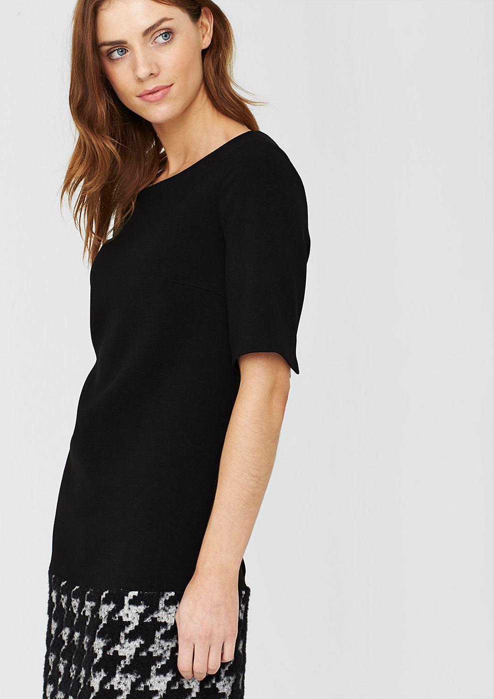 s.Oliver Premium jurk van een materiaalmix zwart
