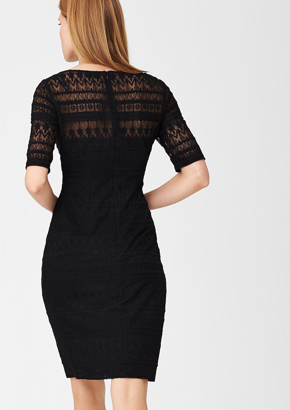 s.Oliver Premium jurk van kant met een motiefmix zwart