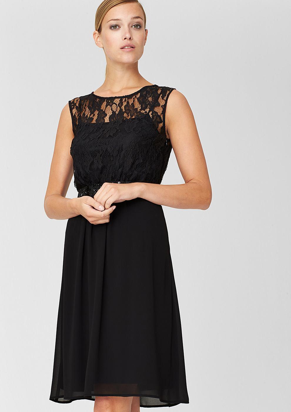 s.Oliver Premium chiffon jurk zwart