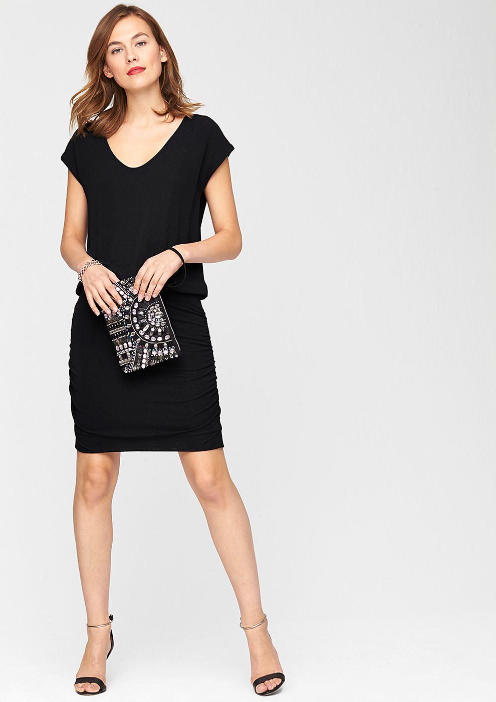 s.Oliver Premium jersey jurk met glittereffect zwart