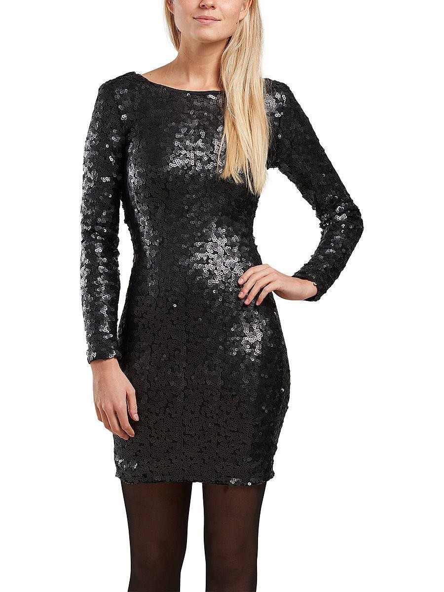 ONLY Lovertjes jurk met lange mouwen zwart