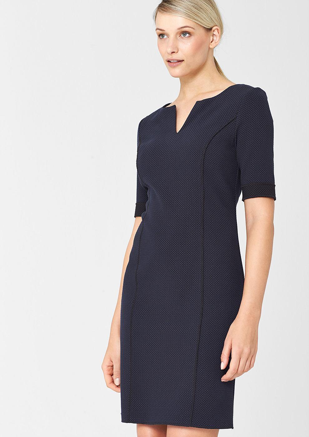 s.Oliver Premium Jacquard jurk met een cut-out bij de hals blauw