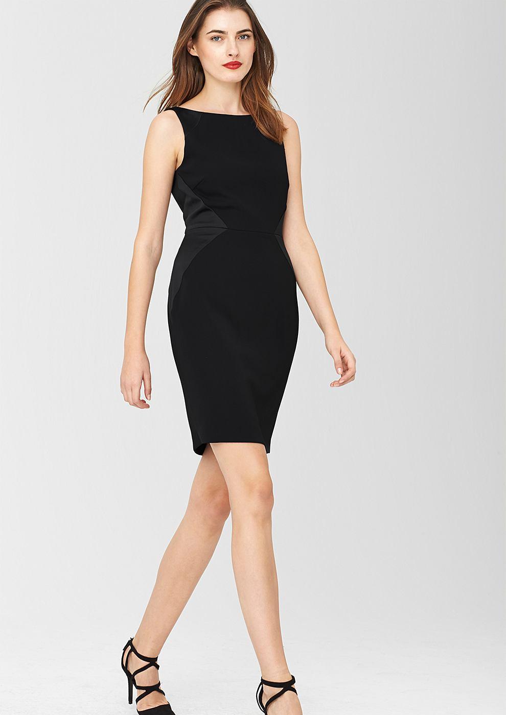 s.Oliver Premium jurk met grafische coupenaden zwart