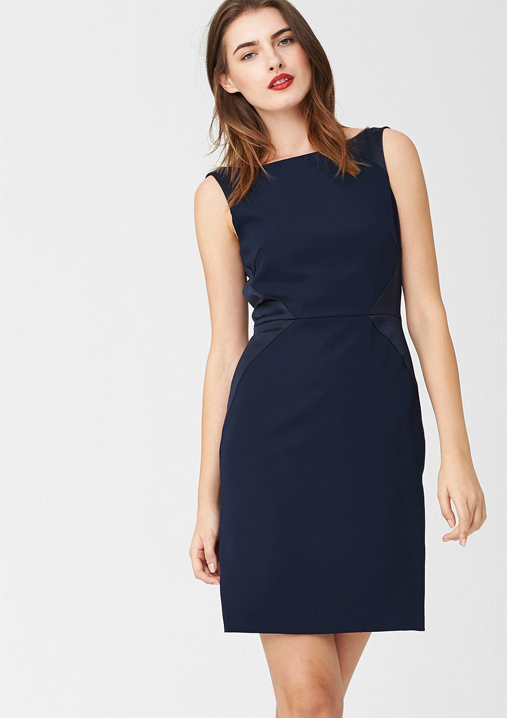 s.Oliver Premium jurk met grafische coupenaden blauw