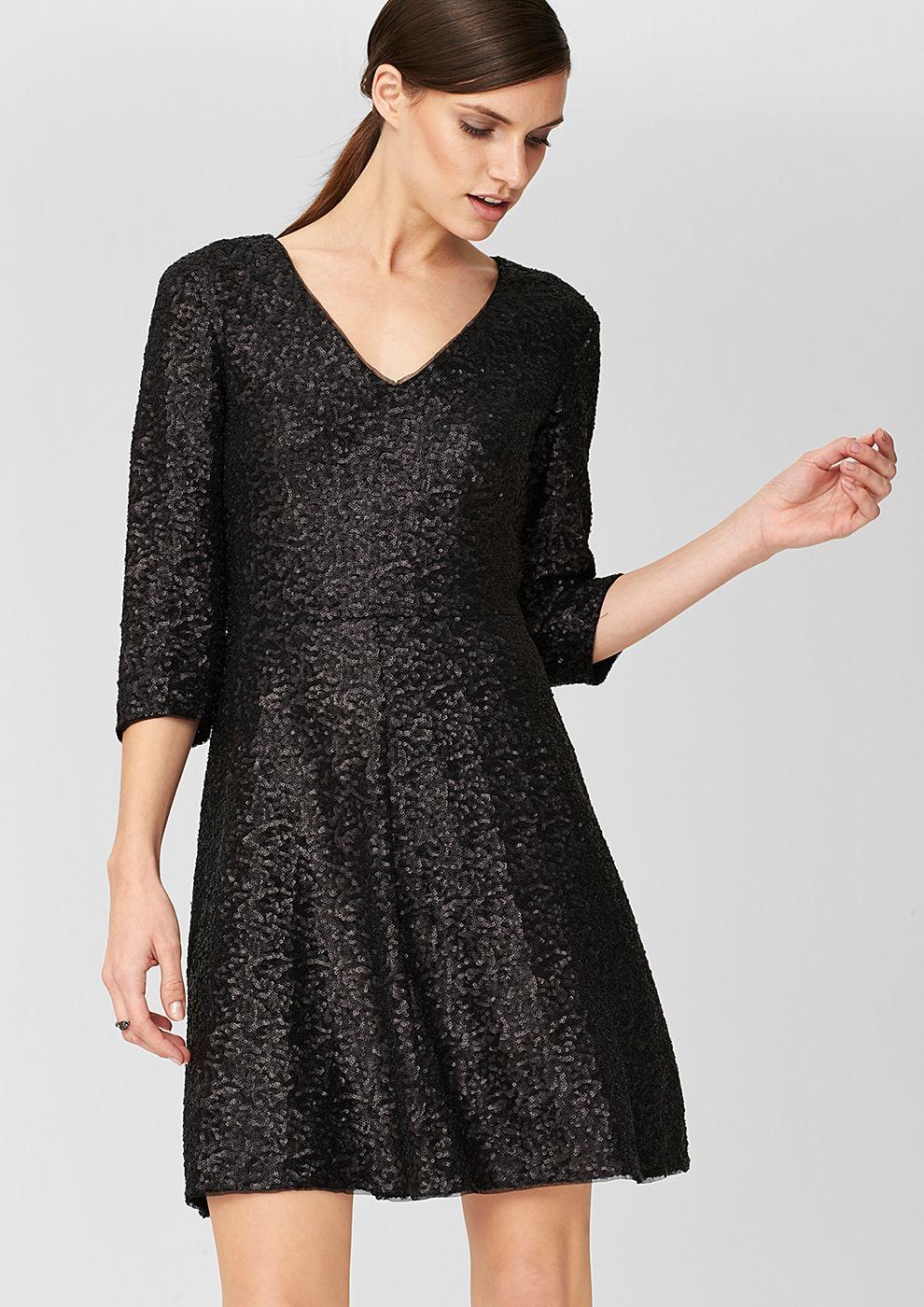 s.Oliver Premium Getailleerde jurk met pailletjes zwart