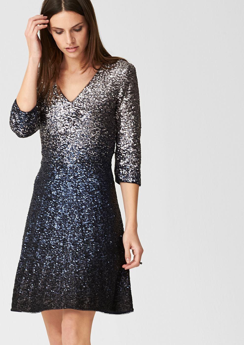 s.Oliver Premium Getailleerde jurk met pailletjes blauw