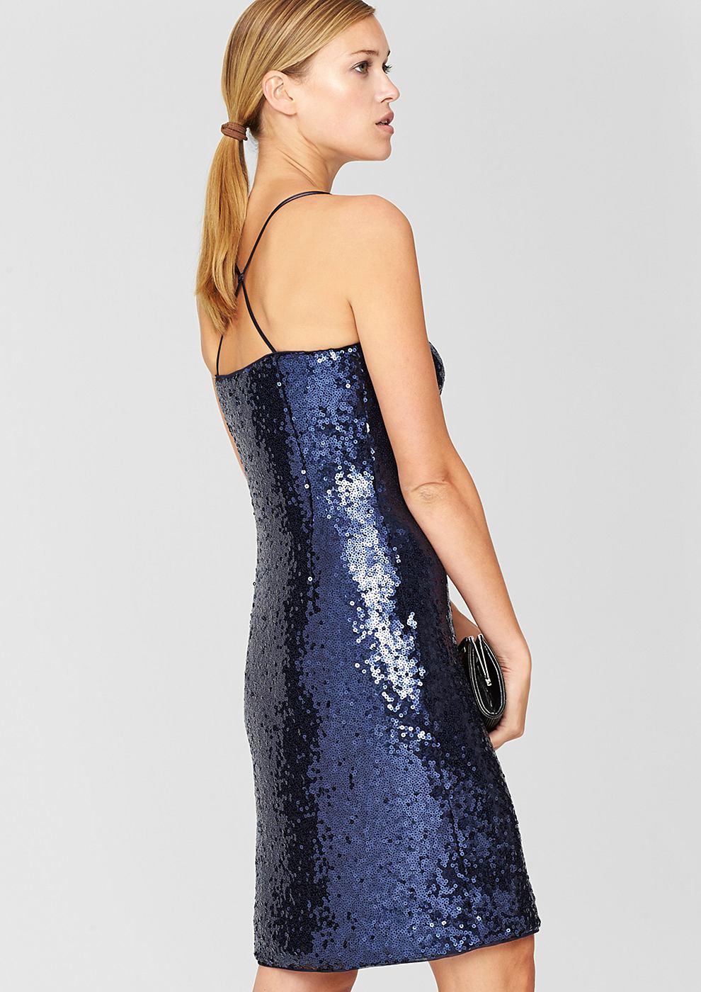 s.Oliver Premium Accentuerende jurk met pailletjes blauw